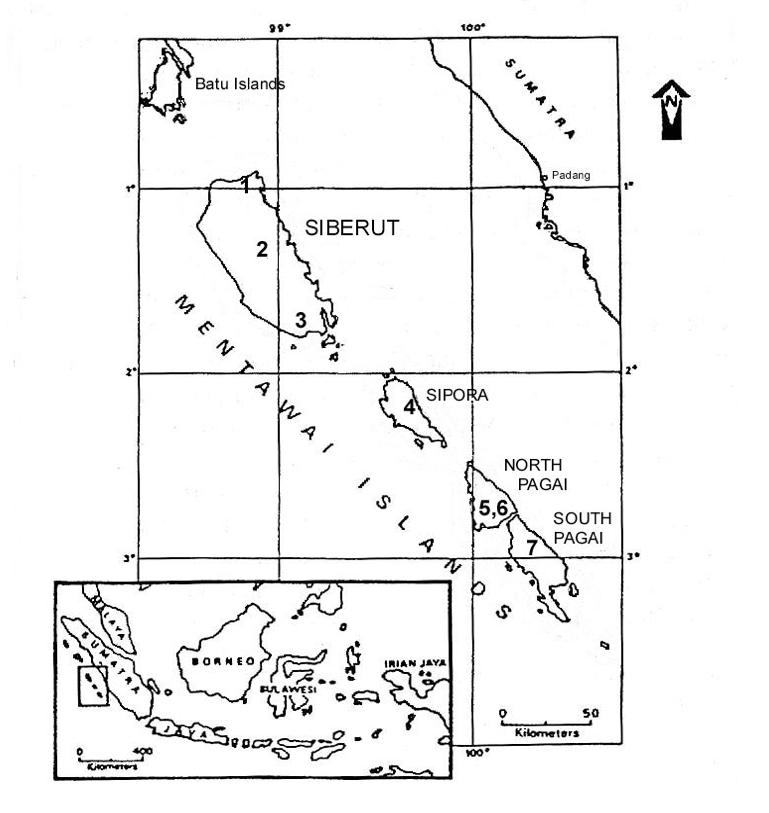Map of Mentawai Islands, Indonesia
