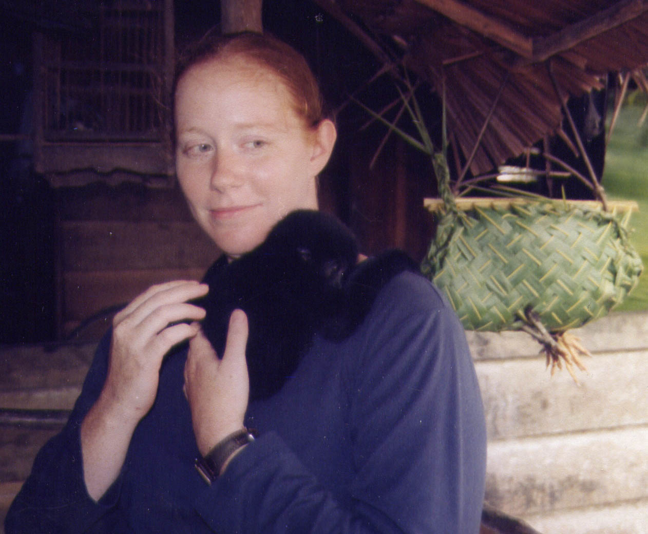 Danielle with infant Kloss's gibbon